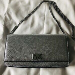 Michael Kors Mott Silver Leather Large EW Clutch
